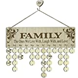 YuQi Wooden Birthday Board Family Friends Plaque DIY Calendar,Wood Family Boards With Round