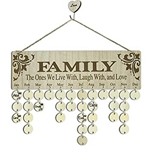 YuQi Birthday Gifts for Grandma Moms – Family Birthday Reminder Perpetual Calendar Board, DIY Wooden Birthday Tracker Wall Hanging Plaque Ornaments for Home Classroom Bar Wall Decor – Family Presents
