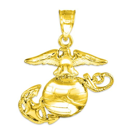 14k Gold Medium Charm US Marine Corps Military Pendant