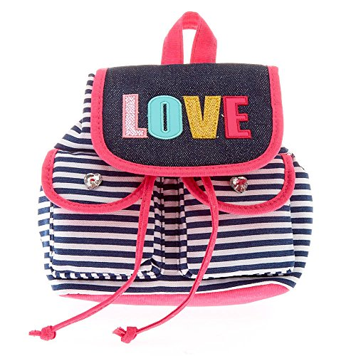 Claire's Girl's Kids Pink, White & Blue Striped Mini Love Backpack (Mini Striped Blue)