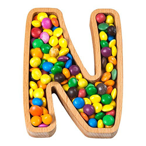 Wooden Letter N Small Size Candy Dish | Monogram Nut Bowl | Snack, Cookie, Cracker Serving Plate | Decorative Display, Home Accessory | Unique Gift Idea | for Date, Baby Shower, Birthday Party -