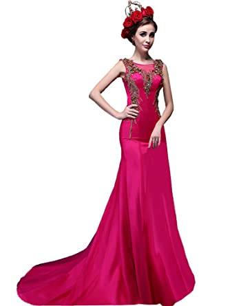 Beauty-Emily O Neck Mermaid Train Sleeveless See-Through Elegant Formal Evening Dresses Vestido