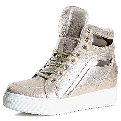 Gold Sport Femmes Coin De Shiny Baskets Topschuhe24 Chaussures tU7wx0