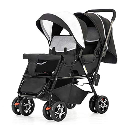 Stroller Zzmop Luxury, Contours Curve Tandem Double for Infants, Toddlers or Twins – 360° Turning, Multiple Seating Options