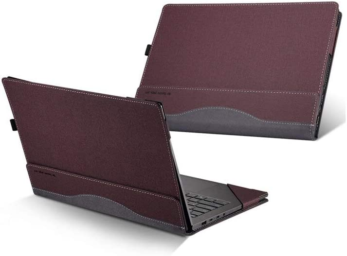 """Honeymoon HP Spectre x360 13t Touch (Released in 2019) 13.3"""" 2 in 1 Laptop Case Cover,PU Leather Folio Stand Protective Hard Shell Case Compatible with HP Spectre x360 13-AWxxx 13 Inch Series,Red"""