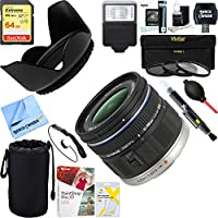 Olympus (261503) M ED 9-18mm f/4.0-5.6 Micro Four Thirds Lens + 64GB Ultimate Filter & Flash Photography Bundle
