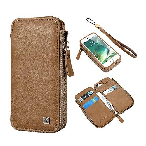 For Apple iPhone 7 Slim Wallet Cases, FLOVEME Vintage Zip...