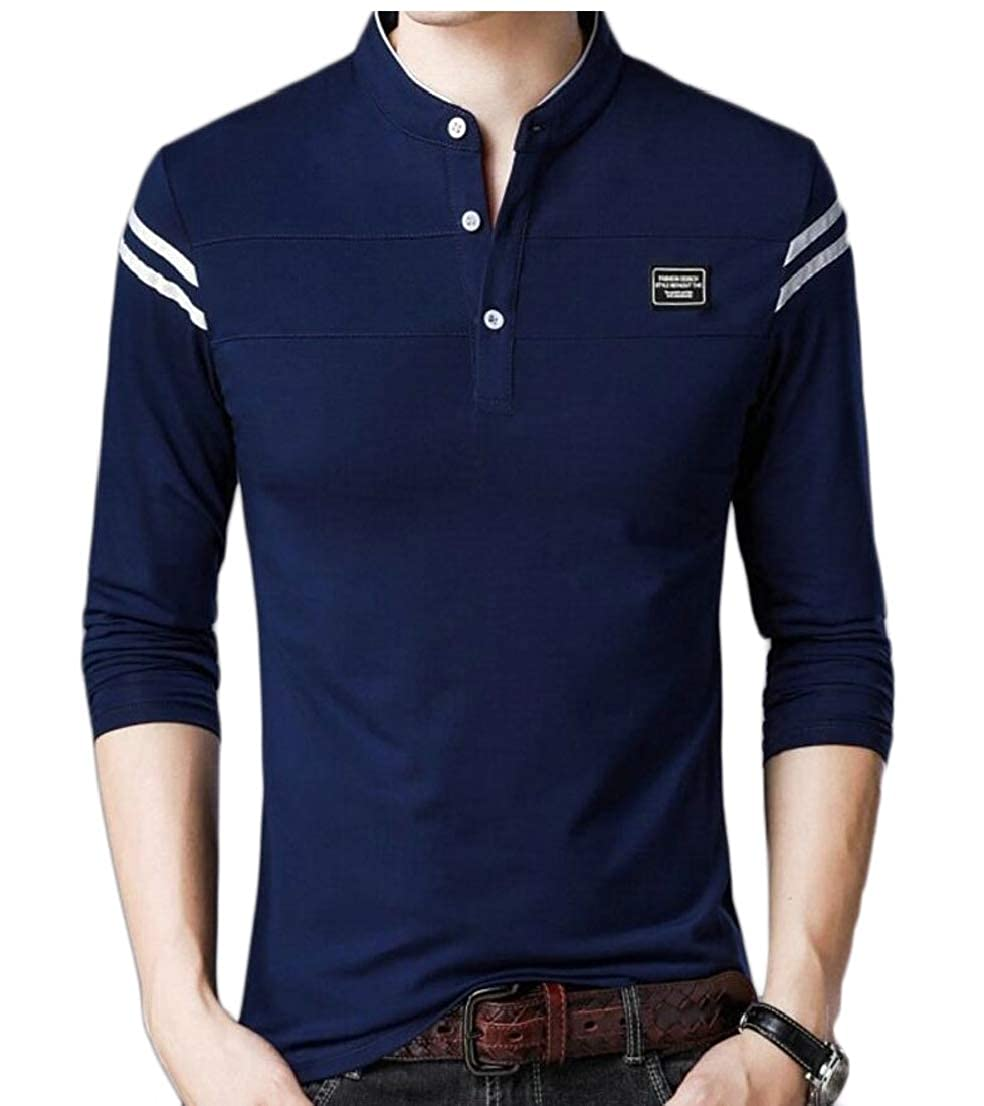 Generic Mens Classic Warm Slim Fit Polo Shirt Stand Collar Long Sleeve T-Shirt