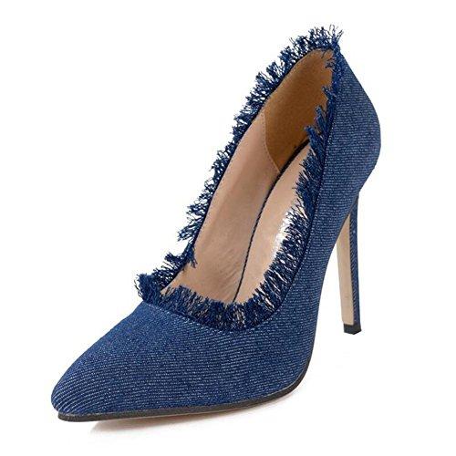 Heels Fabric Denim Light 11cm Mouth Women Sandal Heel Height Blue Single wZ71qqd
