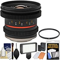 Rokinon 12mm T/2.2 Cine Wide Angle Lens with Filter + Video Light Kit for Olympus/Panasonic Micro 4/3 Cameras