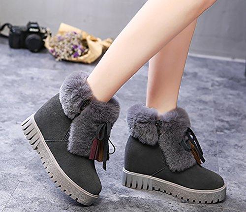 Arraysa Women Abaat9 7CM Zipper Wedge Heel Boots Grey 7Qjjr7