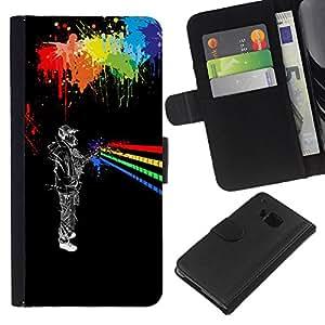 LECELL--Cuero de la tarjeta la carpeta del tirón Smartphone Slots Protección Holder For HTC One M9 -- Arte urbano Colores --