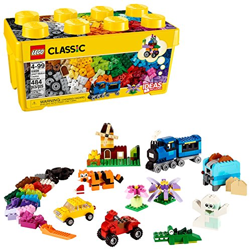 LEGO Classic Medium Creative Brick Box 10696 Building Toys for Creative Play; Kids Creative Kit (484 Pieces) (Lego Junior Bricks)
