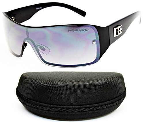 D1008-CC Designer/Diamond Eyewear Turbo Sunglasses (O1685B Black/Black-Smoked, - Shield Sunglasses Style