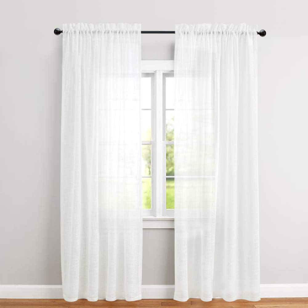 fascinating Textured Sheer Curtains Part - 16: Linen Textured Sheer Window Curtains for Bedroom 63 inches Long White Sheer  Curtain for Living Room Drapes Rod Pocket 2 Panels