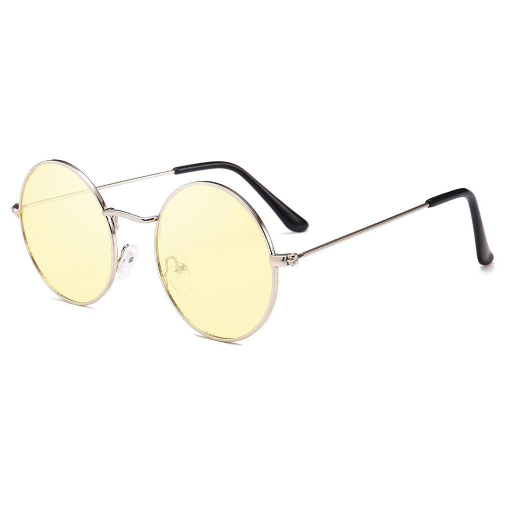 c74a7e5220f7 Lukalook Retro Round Sunglasses Ocean Len Luxury Brand Designer UV400  Glasses (Yellow) at Amazon Women s Clothing store
