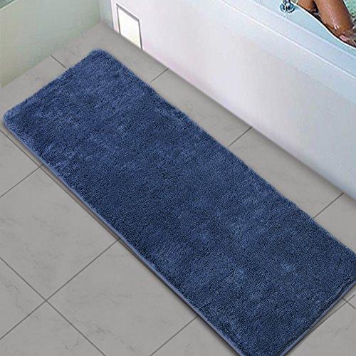 Shag Bathroom Rug Runner, Seavish Navy Blue Non Slip Microfiber Extra Long Bath Mat Cozy Soft Absorbent Kitchen Rugs, 18x45
