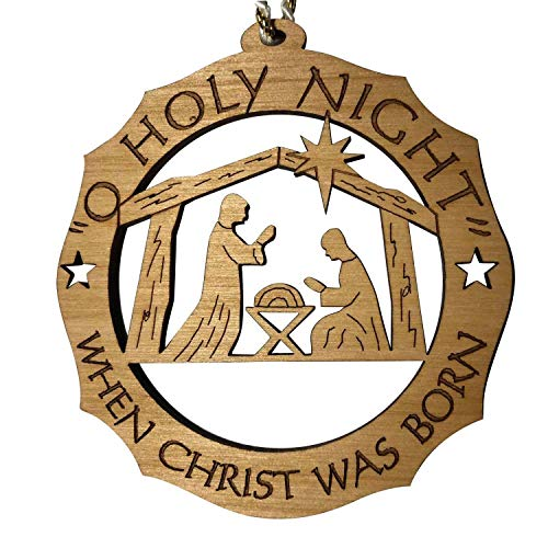 Jolette Designs Nativity Ornament - Precision Laser Carved Red Alder Wood Decoration - Great and Christmas Party Favors