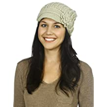 Simplicity® Women's Winter Knit Ribbed Beanie with Visor and Flower