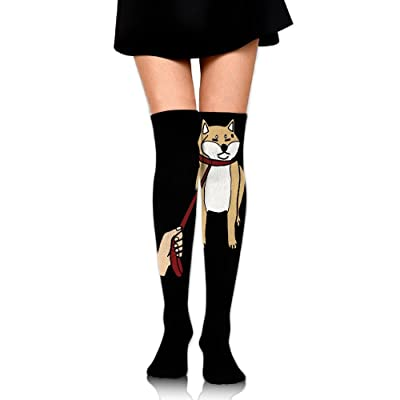 WRE8577 Women's Knee High Compression Thigh High Socks Cute Shiba Inu For Soccer Sport Long Stockings