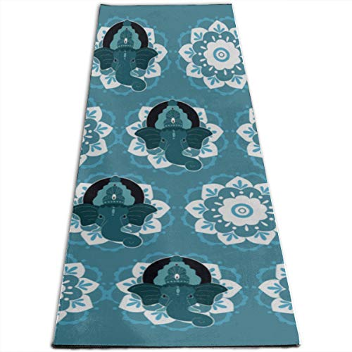 GGKDL Exercise Mat Small Hindu Lord Ganesha Over Ornate Colorful Personalized Printing Thick Non-Slip Anti-Tear High Density Lightweight with Carrying Strap Storage Pockets Portable Exercise Mat (Ganesha Yoga Mat)