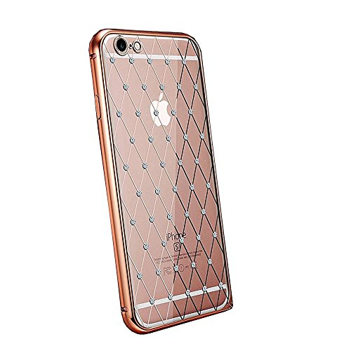 Net Studded - iphone 6s Plus Case, TabPow Crystal Studded Rhinestone Diamond Net Luxury Slim ABS Silicone Shockproof Bumper Hard Case Cover For iPhone 6s Plus (5.5 inch), Rose Gold