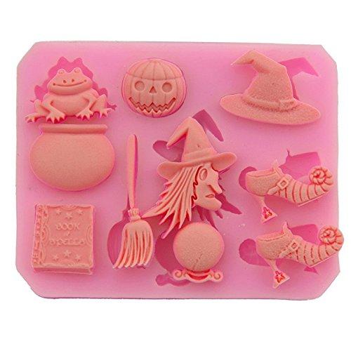 Wansan 1 Pcs Halloween Theme Non-Stick Silicone Cake Baking Molds Chocolate Jelly Soap Mold Ice Cube Tray