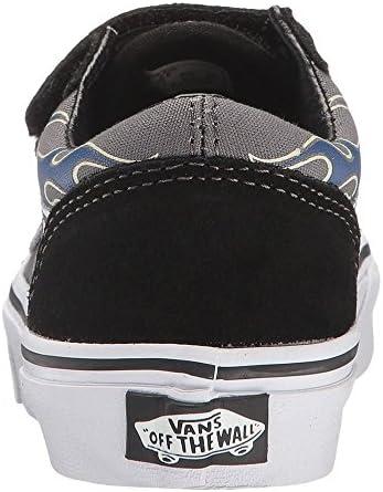Vans Old Skool Black White Flame Kids Suede Velcro Trainers