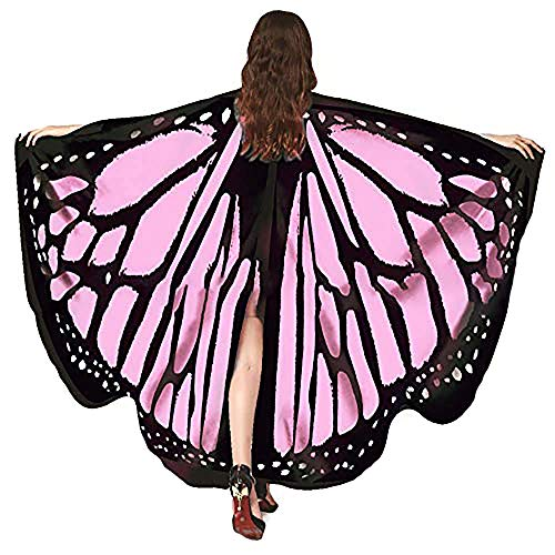 Bagood Halloween Party Show Ladies Soft Fabric Butterfly Wings Shawl Fairy Nymph Pixie Costume Accessory Pink