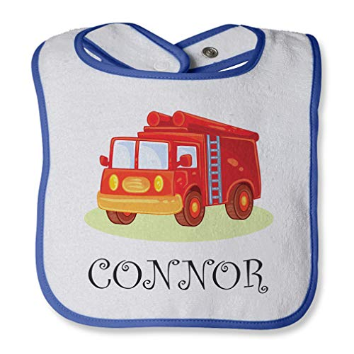 Personalized Custom Future Fire Fighter Truck Kids Cotton Boys-Girls Baby Terry Bib Contrast Trim - White Royal Blue, One - Bib Future Firefighter Baby