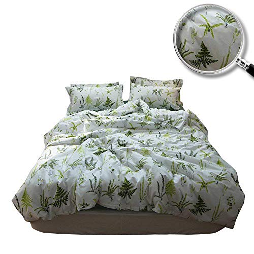 XUKEJU Reversible Print Green Tree Duvet Quilt Cover Boys Girls 100% Cotton Soft Breathable 3pc Bedding Set Full Queen Size