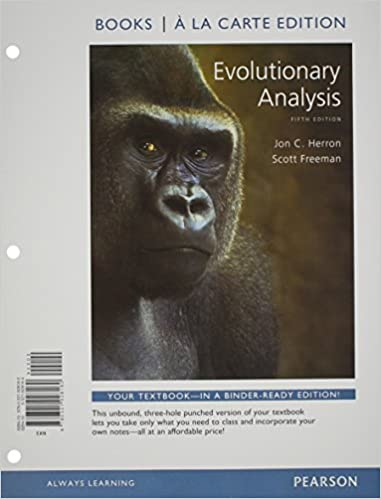 Amazon evolutionary analysis books a la carte edition 5th amazon evolutionary analysis books a la carte edition 5th edition 9780321928160 jon c herron scott freeman books fandeluxe Images