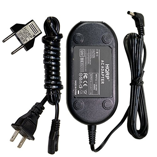HQRP AC Adapter/Charger for Canon CA-570 / CA570, ZR400, ZR300, ZR200, ZR100, CA-570-04 Digital Camcorder with USA Cord & Euro Plug Adapter