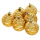 Baulody 6PCS Christmas Ball Ornaments Shatterproof Decorations Tree Balls Baubles Small for Holiday Wedding Party Decoration, Reindeer,Star, Snowflake Design Tree Ornaments (Gold)