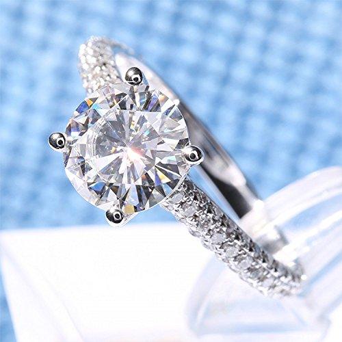 Gowe 2carat CT rond dents Lab Cultivées Charles en diamant véritable avec accents de diamant solide 14K 585Or blanc