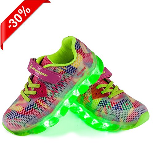 Shoes Autumn Sport with Led Shoes Shoes LED Sneakers Kid Kid shoes for Rechargable Spring Pink LED New Summer CE Colors LED Released Halloween Breathable Shinmax 7 Christmas Thanks Certificate Sneakers USB XwqWEPngq