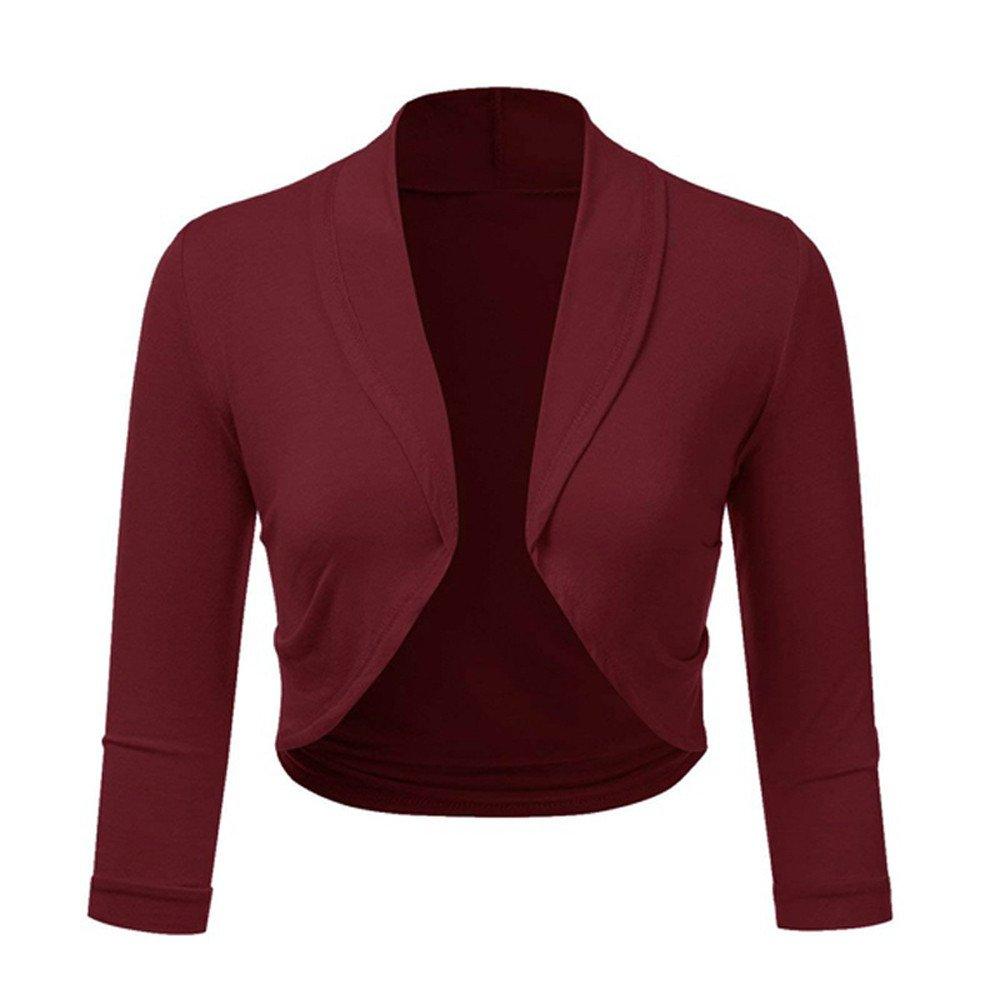 TWGONE Plus Size Long Sleeve Cropped Cardigan Women Solid Bolero Shrug Open Front Mini Office Work Cardigan (X-Large,WineRed)