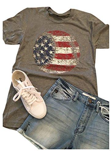 (Women American Flag Baseball Workout T-Shirt Short Sleeve Funny Graphics Casual Tees Shirts (Gray, S))