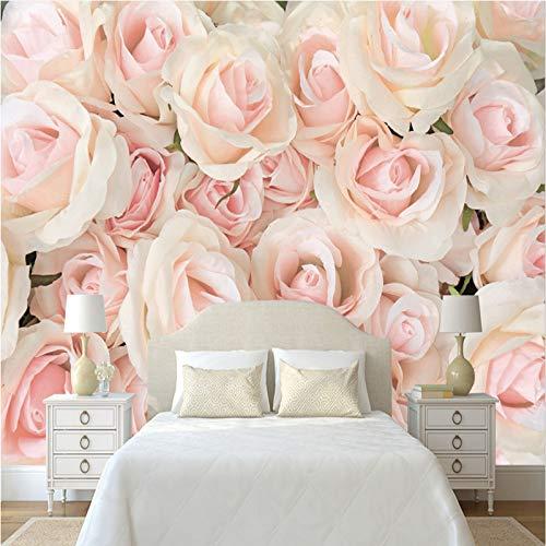 (Loaizh Custom Made Decoration Three-Dimensional Photo Romantic Pink Rose Wedding Tv 3D Wallpaper Mural Wall Sticker 200Cmx150Cm)