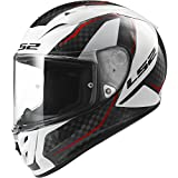 LS2 Helmets Arrow Carbon Fury Full Face Motorcycle Helmet (White, Large)