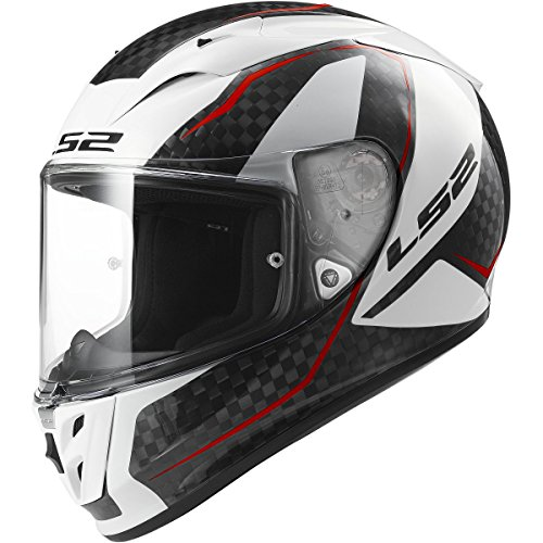 LS2 Helmets Arrow Carbon Fury Full Face Motorcycle Helmet (White, Medium)