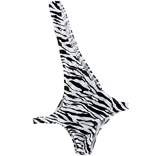 FEESHOW Men's Stretch Zebra One Shoulder Bodysuit