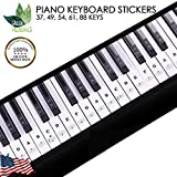 Green Frenchies G.F. Piano Keyboard Stickers, Transparent Stickers for White and Black Keys, Removable Stickers for 37, 49, 54, 61, and 88 Keys with Instructions