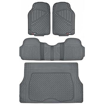MotorTrend FlexTough Rubber Floor Mats & Cargo Set Gray Heavy Duty BPA Free & Odorless