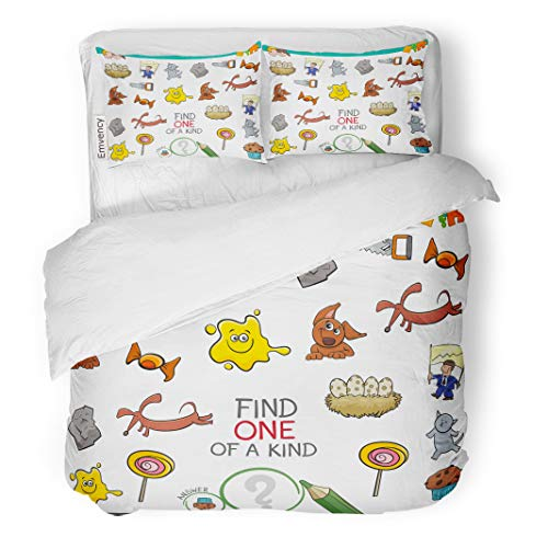 Semtomn Decor Duvet Cover Set Full/Queen Size Cartoon of Find One Kind Educational Activity for Children 3 Piece Brushed Microfiber Fabric Print Bedding Set Cover]()