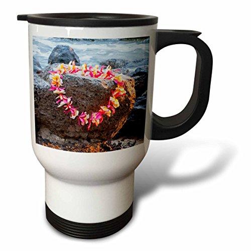 3dRose Danita Delimont - Hawaii - Honolulu, Hawaii, Oahu. Waikiki Beach lei on surf rocks. - 14oz Stainless Steel Travel Mug (tm_278914_1) by 3dRose