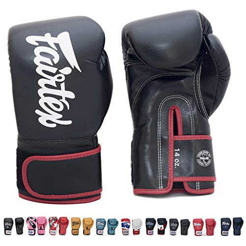 Fairtex BGV14 Microfibre Boxing Gloves Muay Thai Boxing, MMA, Kickboxing,Training Boxing Equipment, Gear for Martial Art (Black, 8 oz)