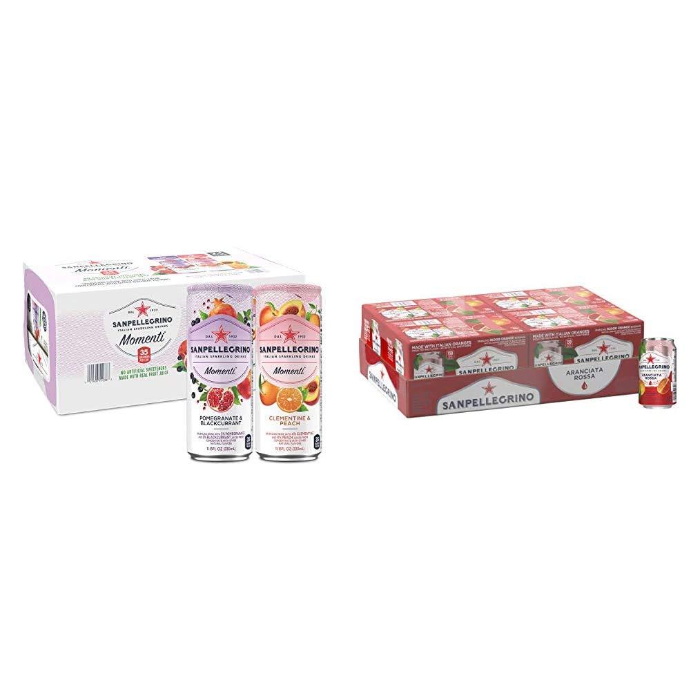San Pellegrino Momenti Variety Pack, 11.15 Fl Oz (24 Pack) & Sanpellegrino Blood Orange Italian Sparkling Drinks, 11.15 fl oz. Cans (24 Count)
