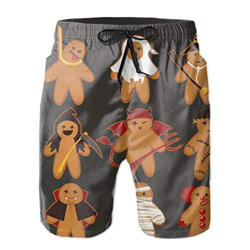 LemeFix Cartoon Cute Funny Halloween Cookies Men's Printing Quick Dry Beach Board Shorts Swim Trunks ()