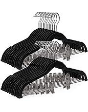 SONGMICS 30-Pack Pants Hangers, Velvet Trouser Hangers with Adjustable Clips, Black UCRF12B30